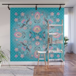 Folk Flowers in Pink and Dusty Blue Wall Mural
