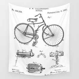 Bicycle Patent - Cyclling Art - Black And White Wall Tapestry