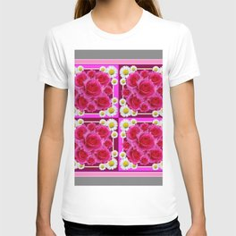 Fuchsia Rose Bouquet Garden Shasta Daisies Art Panels Grey Abstract T-shirt