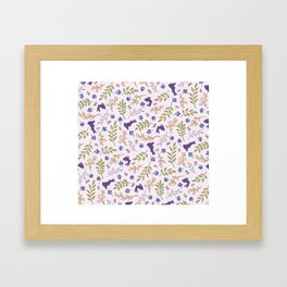 Ditsy Bunnies Amok - Purple Bunnies, Pink Background Framed Art Print
