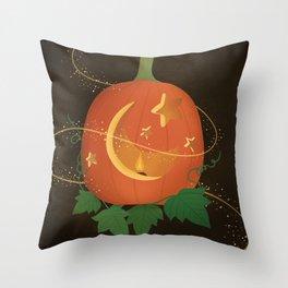 Magical Carved Pumpkin Throw Pillow