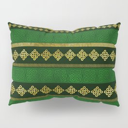 Celtic Knot Decorative Gold and Green pattern Pillow Sham