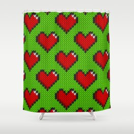 Knitted heart pattern - green Shower Curtain