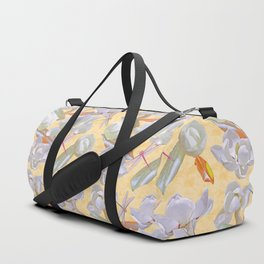 Magnolias and Dragonflies (Yellow Satin) Duffle Bag