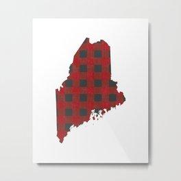 Maine Plaid in Red Metal Print