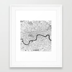 London Map Gray Framed Art Print