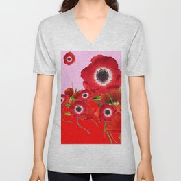 RED TIDE OF RED SPRING ANEMONE  GARDEN  FLORAL Unisex V-Neck
