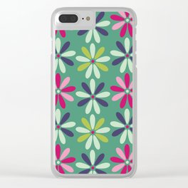 Fashion Flowers Teal Style Clear iPhone Case
