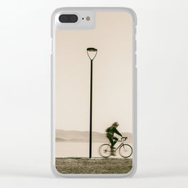Cycling along the shore of lake Trasimeno Clear iPhone Case