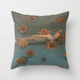 sleeping Buddha with lotus 2 Throw Pillow