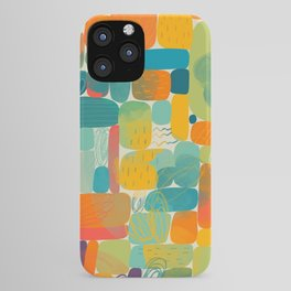 Colorful shapes acrylic painted illustration pattern iPhone Case