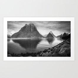 Milford Sound Panorama in black and white Art Print