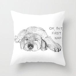 Dog napping Throw Pillow