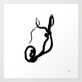 One line horse 191017 Art Print