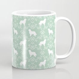 Bernese Mountain Dog florals dog pattern minimal cute gifts for dog lover silhouette mint and white Coffee Mug