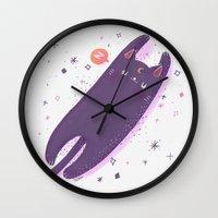 sailormoon Wall Clocks featuring Sleepy Luna by Suni