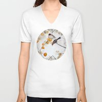 fall V-neck T-shirts featuring Fall by Mai Autumn