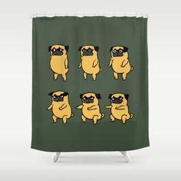 Pug Air Squats Shower Curtain