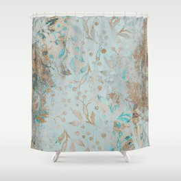 Pastel Botanical Watercolor Pattern Teal Gold Glitter Shower Curtain