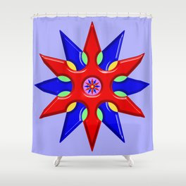 Shuriken Lotus Flower Shower Curtain