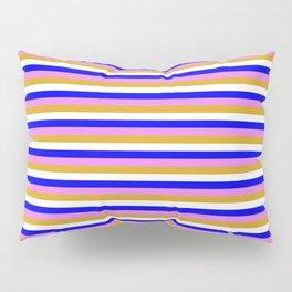 Blue, Violet, Goldenrod & White Stripes Pattern Pillow Sham