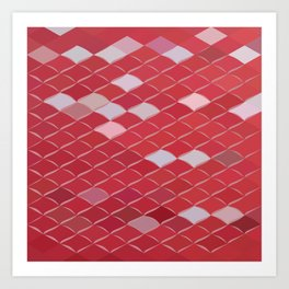 Red Carpark Abstract Low Polygon Background Art Print