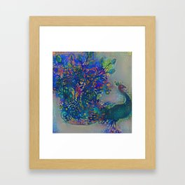 Floral Peacock Framed Art Print