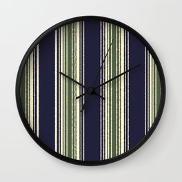Navy blue and sage green stripes Wall Clock