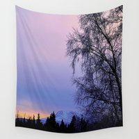 milan Wall Tapestries featuring Chugach Mts Serenity Sunrise - I   by Alaskan Momma Bear