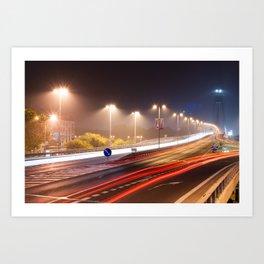 Traffic trails on the bridge Art Print