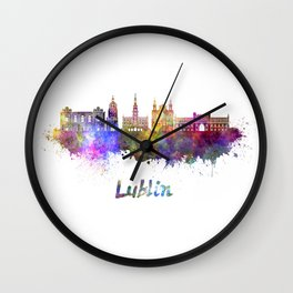 Lublin skyline in watercolor Wall Clock
