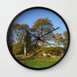 Autumnal trees in Grasmere. Lake Distirct, UK. Wall Clock
