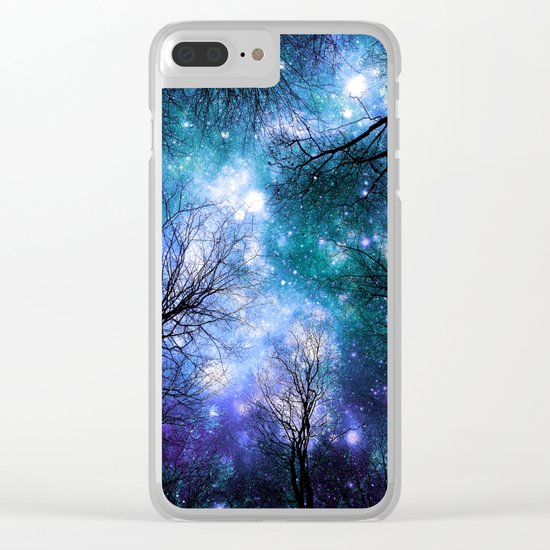 Black Trees Teal Violet Space Clear iPhone Case