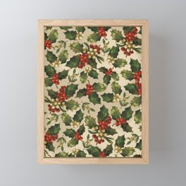 Gold and Red Holly Berrys Framed Mini Art Print