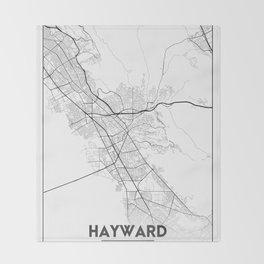 Minimal City Maps - Map Of Hayward, California, United States Throw Blanket