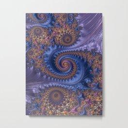Feathery Flow Periwinkle - Fractal Art  Metal Print