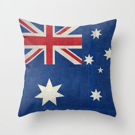 The National flag of Australia, retro textured version (authentic scale 1:2) Throw Pillow