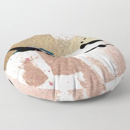 01014: pink, gold, and white abstract Floor Pillow