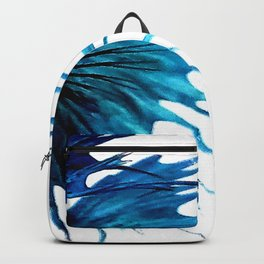 Betta Fish Blue Tail Abstract Modern Left Backpack