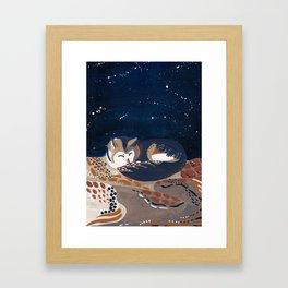 Sleeping Desert Wolf Framed Art Print