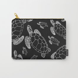 Turtles in Dark - Black and White - Drawing #decor #society6 #buyart Carry-All Pouch