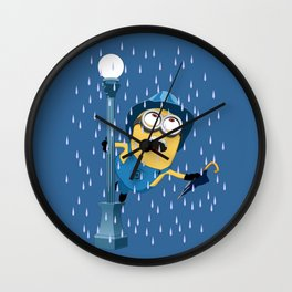 Minion in the rain Wall Clock