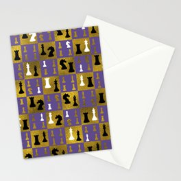 Violet Chessboard and Chess Pieces pattern Stationery Cards