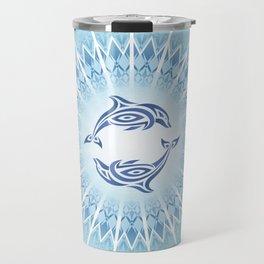 Dolphins Mandala Blue Travel Mug