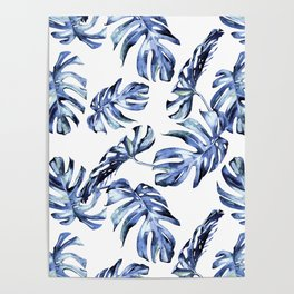 Blue Palm Leaves Poster