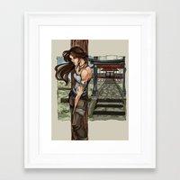 lara croft Framed Art Prints featuring Lara Croft Japan by memo_alatouly