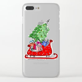 Xmas Holiday Print Clear iPhone Case
