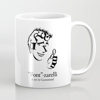 font Mugs featuring 'Font'-zarelli by Christian Bailey