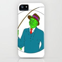 Mobster Fisherman Fly Rod Reel Grime Art iPhone Case
