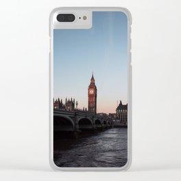 Big Ben, Westminster Bridge at sunrise Clear iPhone Case